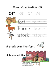 Vowel Combination: OR Worksheet