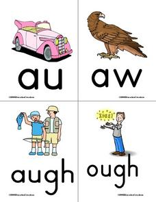 Vowel Combinations Word And Picture Cards Worksheet