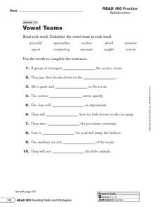 Vowel Teams Worksheet
