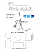 W is for Windmill Worksheet