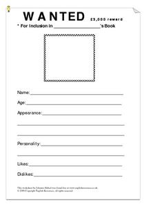 Wanted Worksheet Lesson Plan