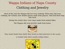 Wappo Indians: Clothing and Jewelry Lesson Plan