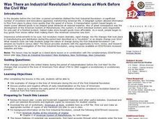 Was There an Industrial Revolution? Americans at Work Before the Civil War Lesson Plan
