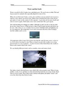 Water and the Earth Worksheet