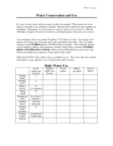Water conservation and Use Lesson Plan