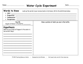 Water Cycle Experiment Worksheet