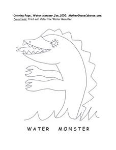 Water Monster Drawing Worksheet