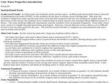 Water Properties introduction Lesson Plan