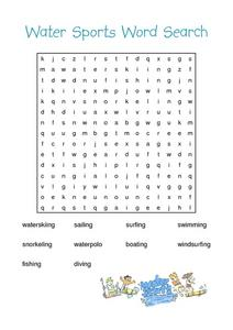 Water Sports Word Search Worksheet