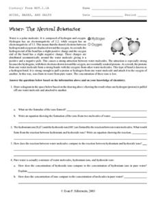 Water: The Neutral Substance Worksheet