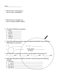 Water Velocity Worksheet
