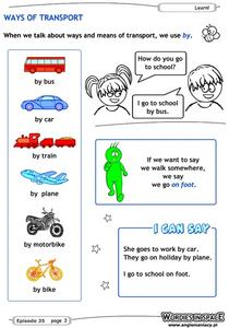 Ways of Transport Worksheet