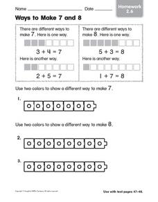 Ways To Make 7 and 8 (Homework Sheet) Worksheet