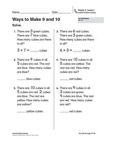 Ways to Make 9 and 10 Worksheet