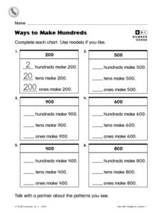 Ways to Make Hundreds Worksheet