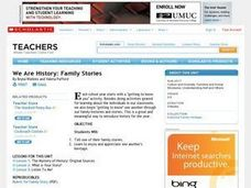 We Are History: Family Stories Lesson Plan