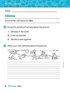 We Can Write: Ideas Worksheet