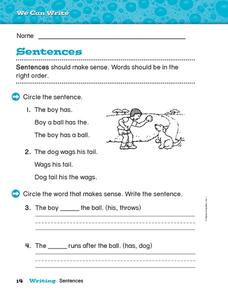 We Can Write: Sentences Worksheet