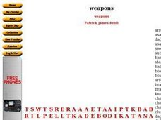 Weapons Word Search Worksheet