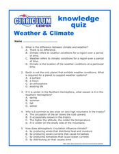 Weather & Climate; Knowledge Quiz 5th - 7th Grade Worksheet | Lesson ...