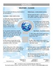 Weather- Clouds Quiz Worksheet Lesson Plan