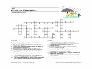 weather crossword 3rd 6th grade worksheet lesson planet. Black Bedroom Furniture Sets. Home Design Ideas