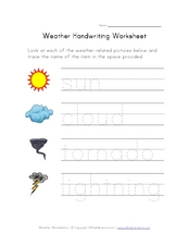 Weather Handwriting Worksheet Worksheet