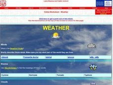 Weather- Online Research Worksheet