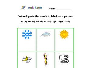 Weather Words Picture Matching Worksheet