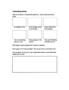 Weathering Culminating Activity Worksheet