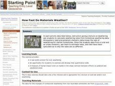 Weathering Rates Lesson Plan