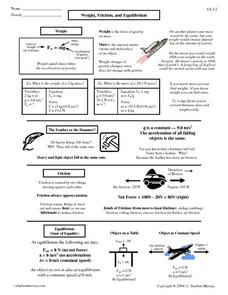 ... , Friction, Equilibrium 10th - Higher Ed Worksheet | Lesson Planet