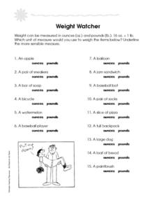 Weight Watcher: Units of Measure Worksheet