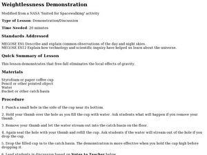 Weightlessness Demonstration Lesson Plan