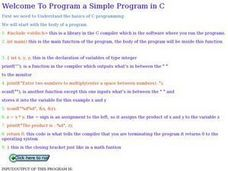 Welcome To Program A Simple Program in C Lesson Plan