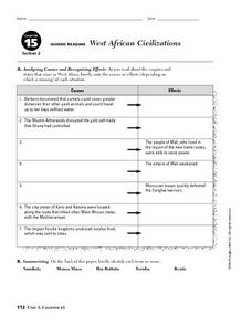 Western African Civilizations Worksheet