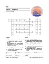 Whale Crossword Worksheet