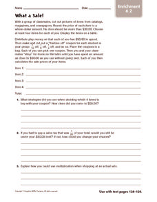 What a Sale! Enrichment Worksheet