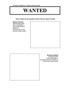 What a Weed-- Wanted Posters Worksheet
