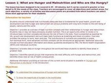 What are Hunger and Malnutrition and Who are the Hungry?: Food, Ethics, Global Cultures Lesson Plan