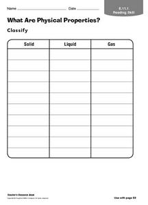 What Are Physical Properties? Worksheet