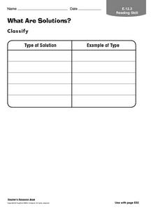 What Are Solutions? Worksheet
