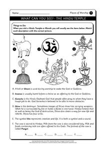 What Can You See?- The Hindu Temple Worksheet