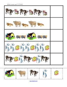 What Comes Next? Cows Worksheet