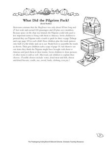 What Did the Pilgrims Pack? Worksheet