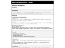 What Do I Write About? Lesson Plan