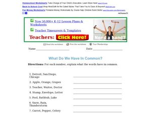 What Do We Have in Common? Worksheet