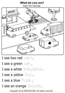 What Do You See? Color the Vehicles in the Picture and Complete the Sentences Lesson Plan