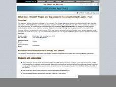 What Does It Cost? Wages and Expenses in Historical Context Lesson Plan