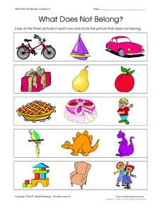 What Does Not Belong? Worksheet 4 Worksheet